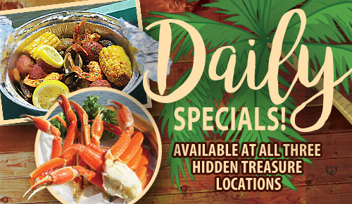 daily specials at hidden treasure restaurants