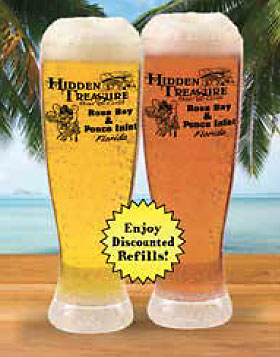 draft beer in souvenir glass with discount refills hidden treasure restaurants