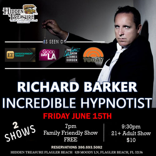 richard barker incredible hypnotist at hidden treasure flagler beach