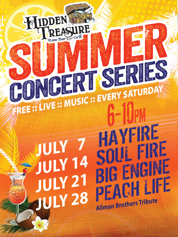 live music free concerts flagler beach july hidden treasure
