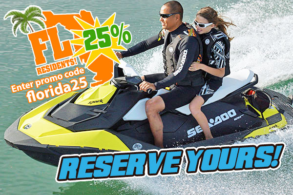 sea doo water sports rentals 25% off florida residents port orange fl