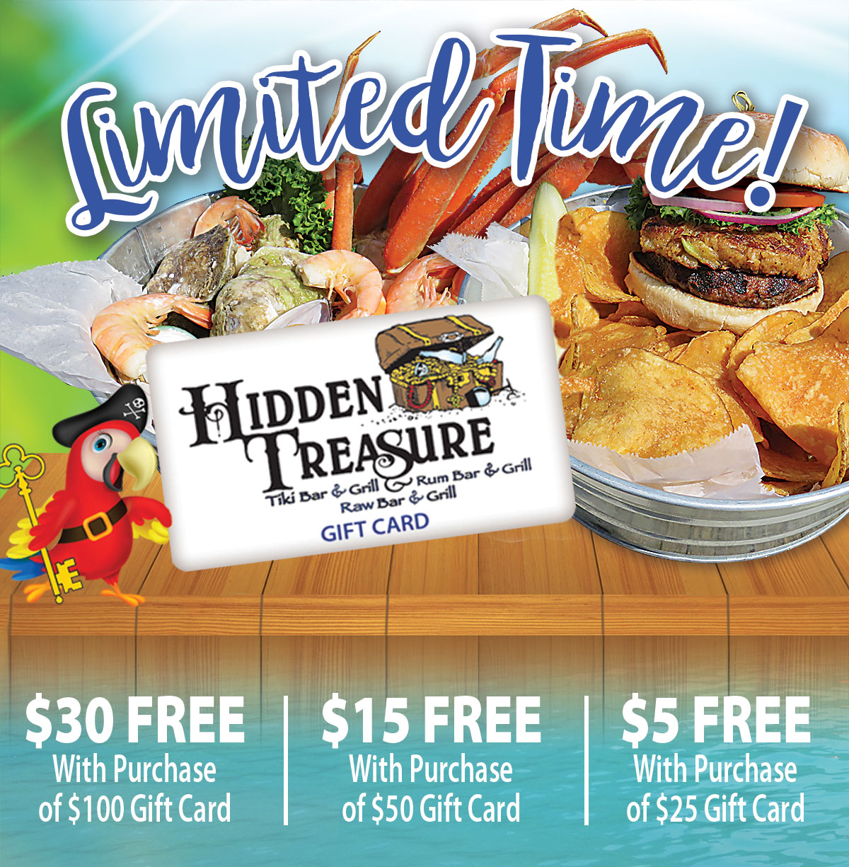 free restaurant gift card with gift card purchase hidden treasure