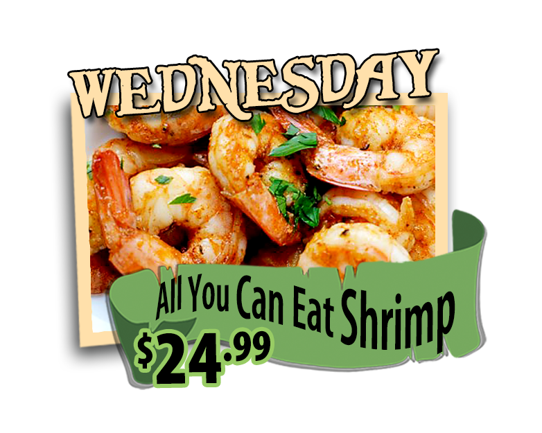 all you can eat shrimp wednesdays at hidden treasure restaurants