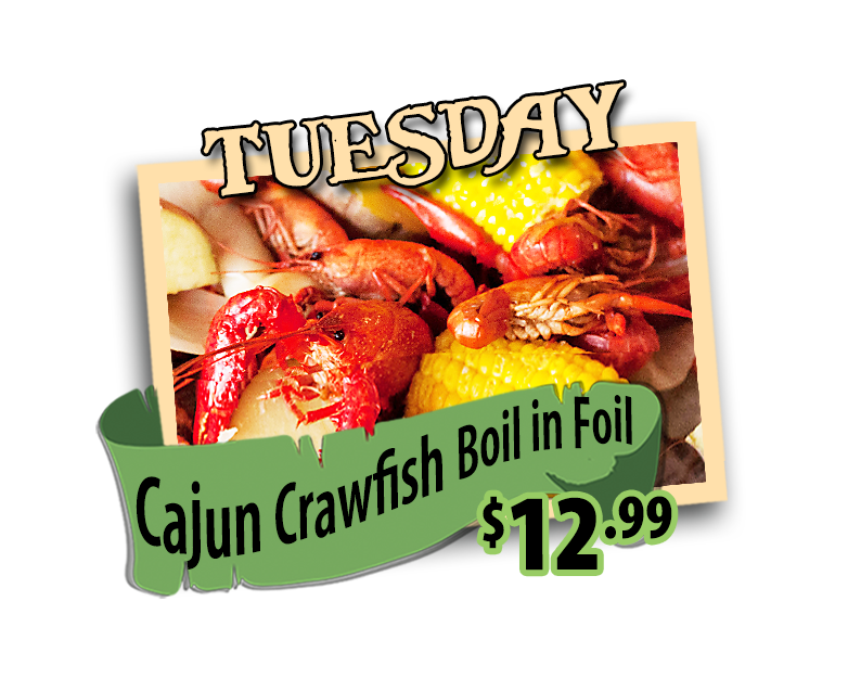 cajun crawfish boil tuesdays at hidden treasure restaurants