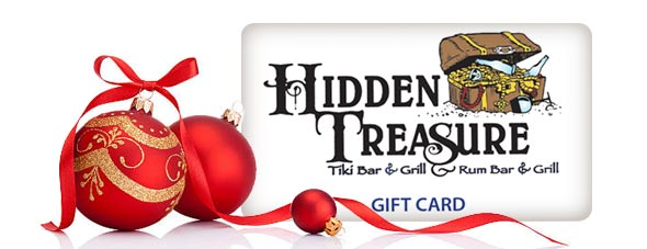 hidden treasure gift card with holiday ornaments