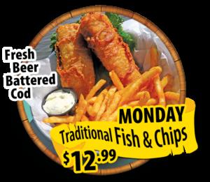 fish and chips mondays 12.99 hidden treasure restaurants