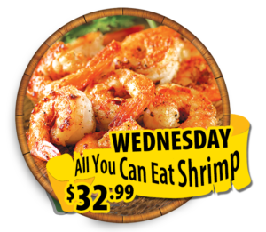 every wednesday all you can eat shrimp 32.99 hidden treasure restaurants